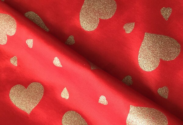 Fasnachtsstoff Rio Bunt hearts red gold