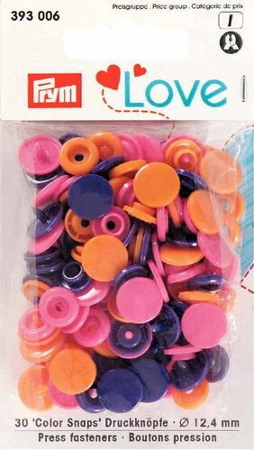 Prym Love Druckknopf Color Snaps 30-Set orange-pink-violet